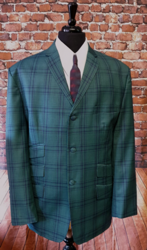 Green & Navy Checked Suit This Suit Only 48R 40w/32